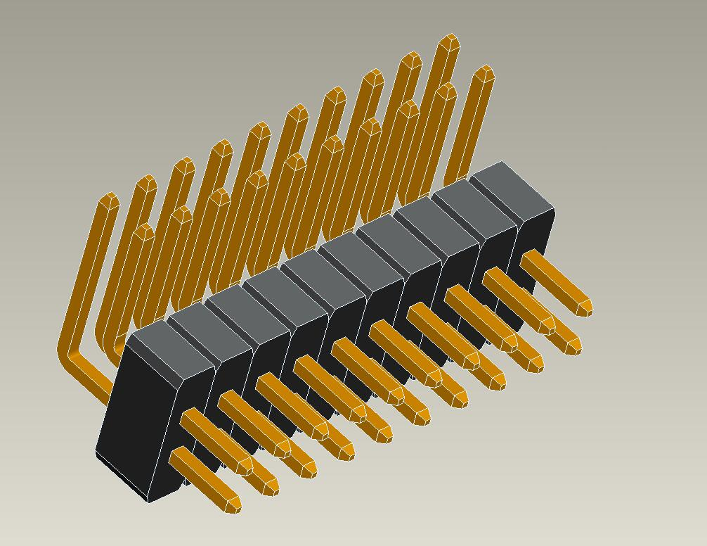 1.0mm pin header dual row right angle type